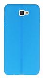 Eiroo Seams Samsung Galaxy J5 Prime Deri Desenli Ultra İnce Mavi Silikon Kılıf