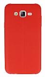 Samsung Galaxy J7 Deri Desenli Ultra İnce Kırmızı Silikon Kılıf