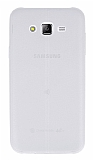 Eiroo Seams Samsung Galaxy J7 Deri Desenli Ultra İnce Şeffaf Beyaz Silikon Kılıf