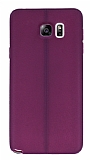 Samsung Galaxy Note 5 Deri Desenli Ultra İnce Mor Silikon Kılıf
