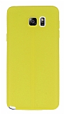 Samsung Galaxy Note 5 Deri Desenli Ultra İnce Sarı Silikon Kılıf