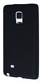 Samsung Galaxy Note Edge Deri Desenli Ultra İnce Siyah Silikon Kılıf