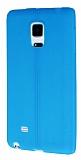 Samsung Galaxy Note Edge Deri Desenli Ultra İnce Mavi Silikon Kılıf
