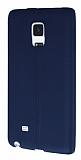 Samsung Galaxy Note Edge Deri Desenli Ultra İnce Lacivert Silikon Kılıf