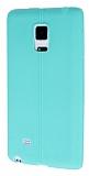 Samsung Galaxy Note Edge Deri Desenli Ultra İnce Su Yeşili Silikon Kılıf