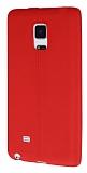 Samsung Galaxy Note Edge Deri Desenli Ultra İnce Kırmızı Silikon Kılıf