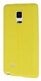 Samsung Galaxy Note Edge Deri Desenli Ultra İnce Sarı Silikon Kılıf