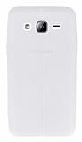 Samsung Galaxy On5 Deri Desenli Ultra İnce Şeffaf Beyaz Silikon Kılıf