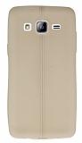 Samsung Galaxy On5 Deri Desenli Ultra İnce Krem Silikon Kılıf