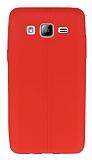 Samsung Galaxy On5 Deri Desenli Ultra İnce Kırmızı Silikon Kılıf