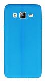 Samsung Galaxy On5 Deri Desenli Ultra İnce Mavi Silikon Kılıf
