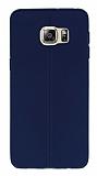 Samsung Galaxy S6 Edge Plus Deri Desenli Ultra İnce Lacivert Silikon Kılıf