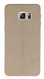 Samsung Galaxy S6 Edge Plus Deri Desenli Ultra İnce Krem Silikon Kılıf