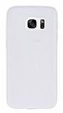 Samsung Galaxy S7 Deri Desenli Ultra İnce Şeffaf Beyaz Silikon Kılıf