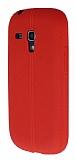 Samsung i8190 Galaxy S3 Mini Deri Desenli Ultra İnce Kırmızı Silikon Kılıf