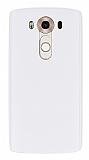 LG V10 Deri Desenli Ultra İnce Şeffaf Beyaz Silikon Kılıf