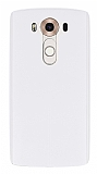 Eiroo Seams LG V10 Deri Desenli Ultra İnce Şeffaf Beyaz Silikon Kılıf