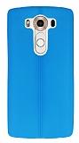 LG V10 Deri Desenli Ultra İnce Mavi Silikon Kılıf