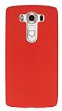 LG V10 Deri Desenli Ultra İnce Kırmızı Silikon Kılıf