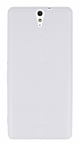 Sony Xperia C5 Ultra Deri Desenli Ultra İnce Şeffaf Beyaz Silikon Kılıf