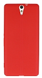 Sony Xperia C5 Ultra Deri Desenli Ultra İnce Kırmızı Silikon Kılıf