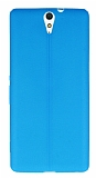 Sony Xperia C5 Ultra Deri Desenli Ultra İnce Mavi Silikon Kılıf
