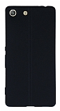 Sony Xperia M5 Deri Desenli Ultra İnce Siyah Silikon Kılıf