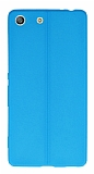 Sony Xperia M5 Deri Desenli Ultra İnce Mavi Silikon Kılıf