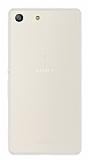 Eiroo Seams Sony Xperia M5 Deri Desenli Ultra İnce Şeffaf Beyaz Silikon Kılıf