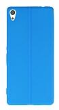 Sony Xperia XA Ultra Deri Desenli Süper İnce Mavi Silikon Kılıf