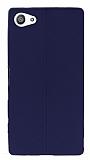 Eiroo Seams Sony Xperia Z5 Compact Deri Desenli Ultra �nce Lacivert Silikon K�l�f