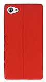 Sony Xperia Z5 Compact Deri Desenli Ultra İnce Kırmızı Silikon Kılıf