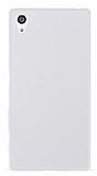 Sony Xperia Z5 Deri Desenli Ultra İnce Şeffaf Beyaz Silikon Kılıf