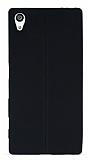 Sony Xperia Z5 Deri Desenli Ultra İnce Siyah Silikon Kılıf