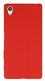 Sony Xperia Z5 Deri Desenli Ultra İnce Kırmızı Silikon Kılıf