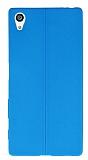 Sony Xperia Z5 Deri Desenli Ultra İnce Mavi Silikon Kılıf