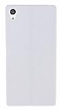Eiroo Seams Sony Xperia Z5 Premium Deri Desenli Ultra İnce Şeffaf Beyaz Silikon Kılıf