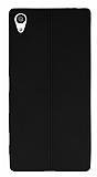 Eiroo Seams Sony Xperia Z5 Premium Deri Desenli Ultra İnce Siyah Silikon Kılıf