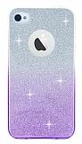 iPhone 4 / 4S Mor Simli Silikon Kılıf