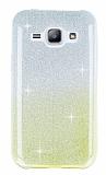 Samsung Galaxy J1 Sarı Simli Silikon Kılıf