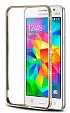 Eiroo Shine Samsung Galaxy Grand Prime / Prime Plus Taşlı Metal Bumper Çerçeve Gold Kılıf