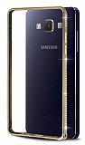 Eiroo Shine Samsung Galaxy A5 Taşlı Metal Bumper Çerçeve Gold Kılıf