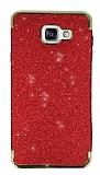 Eiroo Shiny Samsung Galaxy A7 2016 Simli Kırmızı Silikon Kılıf