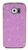 Eiroo Shiny Samsung Galaxy S6 Edge Simli Pembe Silikon Kılıf