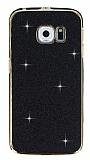 Eiroo Shiny Samsung Galaxy S6 Edge Simli Siyah Silikon Kılıf