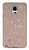 Eiroo Shiny Samsung N9100 Galaxy Note 4 Simli Rose Gold Silikon Kılıf