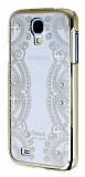 Eiroo Signet Samsung Galaxy i9500 S4 Ta�l� Desenli Gold �effaf Rubber K�l�f