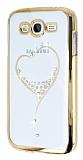 Eiroo Signet Samsung i9082 Galaxy Grand Duos Ta�l� Desenli Gold �effaf Rubber K�l�f