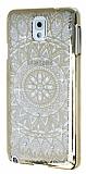 Eiroo Signet Samsung N9000 Galaxy Note 3 Ta�l� Desenli Gold �effaf Rubber K�l�f