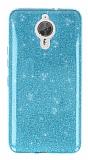 Eiroo Silvery General Mobile GM 5 Plus Simli Mavi Silikon Kılıf